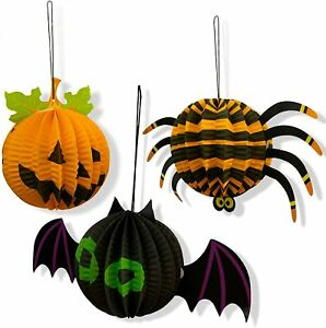 3 x Halloween Paper 3D Hanging Decorations Set Spider Bat Pumpkin UK