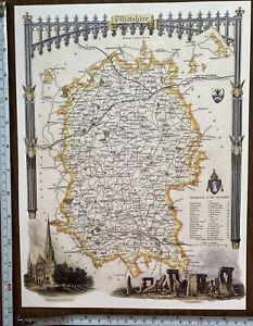 Old Antique Victorian map Wiltshire, England: c1830's: Moule: Stonehenge Reprint