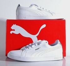 NEW Puma Smash Women's Perf Met 9.5 MED Leather Tennis Shoes White Slvr 36623801
