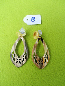 Ohrringe aus Büffelhorn, Handarbeit, handgeschnitzt - 11407 B - SONDERPREIS