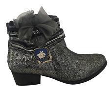 Stiefeletten Damen Trachten Schuhe Sneaker Stiefel Leder Imitat Schwarz Silber