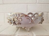 Dresden Vintage Applied Flower Candy Bowl Handpainted Gold Trimmed Dish By -1917