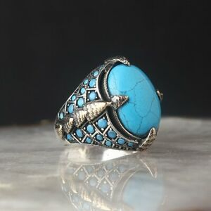 Solid 925 Sterling Silver Handmade Jewelry Blue Turquoise Men's Ring