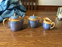 Lusterware Teapot Creamer Lidded Sugar Bowl Iridescent Tan Blue Japan Vintage
