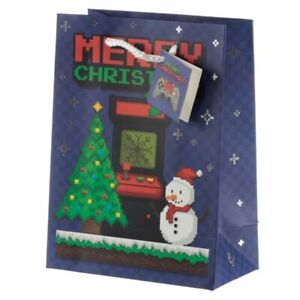 Christmas Game Over Gift Bag Medium Present Girls Ladies 23x17cm