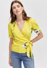 WAREHOUSE Yellow Floral Print Wrap Blouse Top  sizes 6 to 16