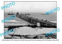 OLD 8x6 PHOTO COFFS HARBOUR NSW JETTY AND BATTLE SHIPS HMAS PARRAMATTA c1910