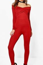 BRAND NEW!Boohoo Cinnamon Long Sleeve Bardot Fitted Jumpsuit