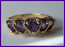 14K Yellow Gold Amethyst Hearts Ring ~ 2.7 Grams ~ Size 7 Excellent Condition!