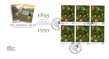 25 de abril de 1995 National Trust completo panel 1 Royal Mail FDC esto es Inglaterra Oakham S