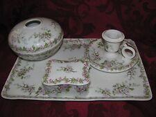 T&V Limoges France Depose dresser set tray trinket candle hair pink dogwood