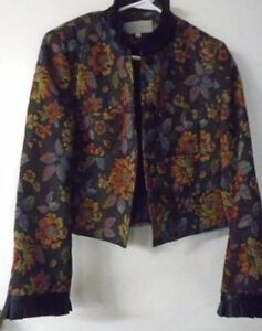 Jacket Emil Rutenberg Collection Tapestry Small Vintage Feel Black Satin EUC