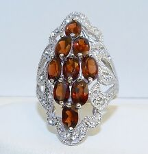 GENUINE 6.60cts! Mozambique Garnet & Wh. Topaz Ring, Solid Sterling Silver 925!