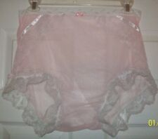 SEAMLESS Pink SHEER NYLON SISSY PANTIES BRIEFS Waistband Stretches 34-44""