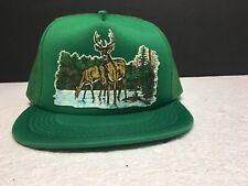 Vintage Trucker Hat Green Mess Hat Deer 80's Red Neck Hipster