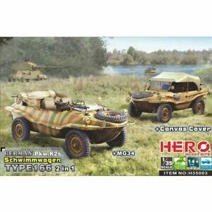 Hero Hobby H35003 1/35 Schwimmagen Type166 (2 in 1 + Mg34 & Canvas cover) Plasti