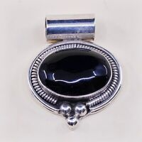 Vtg Sterling Silver Handmade Pendant solid 925 silver w/ Obsidian N Cable Around
