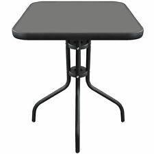 Wohaga® Bistrotisch 60x60cm Balkontisch Glastisch Garten Beistelltisch Schwarz