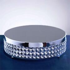 """1 Tier Silver Metal 13.5"""" Cake Stand with Crystal Beads Cupcake Wedding Dessert"""