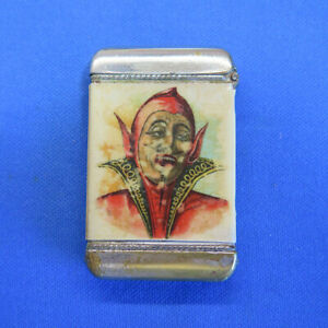 Devil / Satan match safe, Globe Oil, celluloid wrap, Whitehead & Hoag. c. 1905