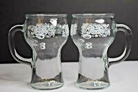 Set of 2 Vintage Pepsi Cola Glass Mugs w/ Handle - 16 oz
