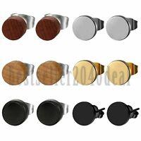 6Pairs Stainless Steel Wooden Ear Stud Earrings Men Women Pierced Ear Studs 8mm