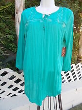 Aqua Embroidered Top New with tags Women's  2X