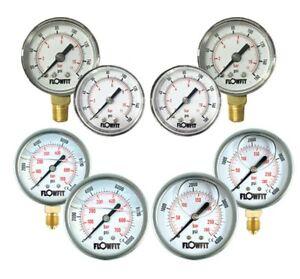 Pressure Gauge Pneumatic/Hydraulic 15-14500 PSI (1-1000 Bar) 40,50,63,100mm Dial