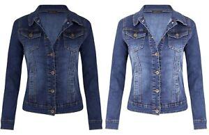 New Womens Mid Wash Blue Denim Chest Pocket Button Long Sleeve Jean Jacket Coat