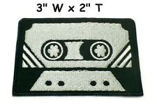Cassette tape retro seventies music embroidered applique iron-on patch S-1200