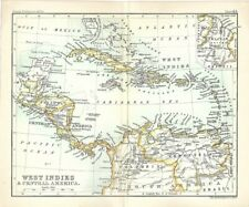 Original 1896 Map WEST INDIES & CENTRAL AMERICA Bermuda Jamaica British Guiana
