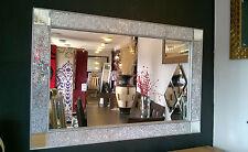 Crackle Design Parete Specchio Argento pesante telaio vetro mosaico 120x80cm Bling LOOK!