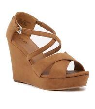 NEW Abound Bria Platform Wedge Sandal US Size 13 Cognac Tan Faux Suede