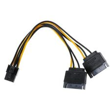 15-Pin Dual SATA Power To 6-Pin PCI-E PCI Express Video Card Adapter Cable Wire