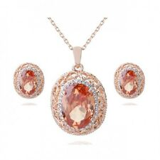 18K ROSE G/P & GENUINE AUSTRIAN CRYSTAL & CUBIC ZIRCONIA TOPAZ JEWELLERY SET