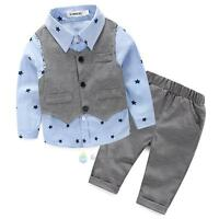 3PCS Baby Boys Gentleman Vest + T-shirt +Pants Trousers Set Clothes outfits WARM