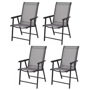 Folding Lawn Beach Chair Camping Outdoor Gathering Armchair Black Steel Frame