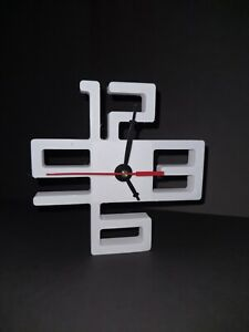 3d Printed modern Wall or Table Clock white with black and red dial