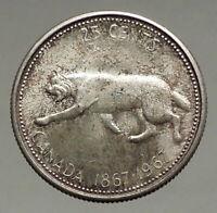1967 CANADA Confederation Centennial Silver 25 Cents Coin LYNX Wild Cat i56676