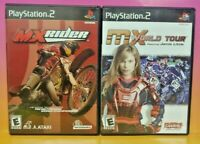 MX Rider + MX World Tour Moto Bike Racing PS2 Playstation 2 Game Lot Working !