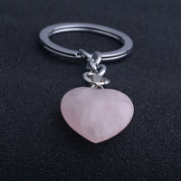 Natural Rose Quartz Heart Crystal Keyring Love Healing Gemstone C5X