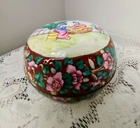 Vintage Chinese Cloisonne Powder Bowl w/Beautiful Scene Floral Design w/Lid