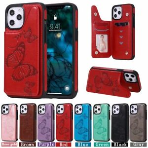 10pcs/lot Butterfly Shatter-Resistant Leather Back Case for iPhone 12 Samsung