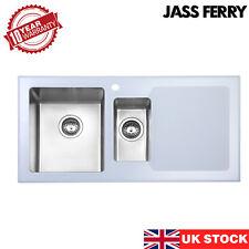 JASSFERRY New Premium White Glass Top Stainless Steel Kitchen Sink 1.5 Bowl