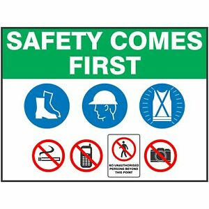 Construction Site Signs -  SAFETY COMES FIRST ENTRY SIGN