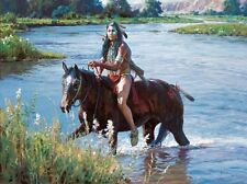 "Martin Grelle Crossing the Greasy Grass Canvas Giclee S/N COA 12"" x 16"" #62/65"