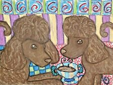 5x7 Pop Art Print Irish Water Spaniel with Coffee by Kimberly Helgeson Sams Dog