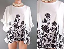 White Kimono Top Stradivarius Cotton Blouse S Floral Ruffled Casual