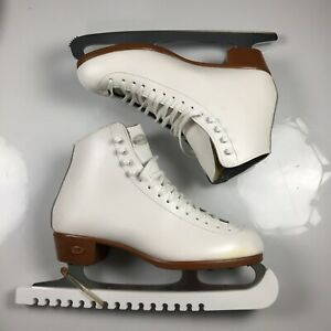 Riedell White Leather Figure Ice Skates Womens Size 8