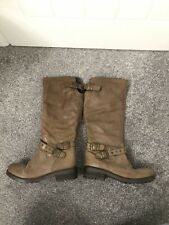 Ladies DUNE Brown Leather Boots Adjustable Tops With Buckle Size 6